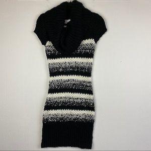 Candie's Black White Cowl Neck Sweater Dress